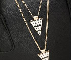Punk Style Triangle Double-Deck Necklace